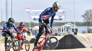 Great Britain Cycling Team's Kye Whyte in action at the UEC BMX European Cup