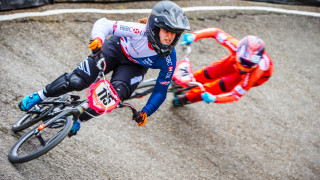 Beth Shriever competes at the 2017 UCI BMX Supercross World Cup