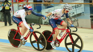 Great Britain Cycling Team's Elinor Barker and Emily Nelson win Madison silver at the Tissot UCI Track Cycling World Cup