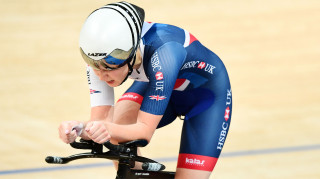 Great Britain Cycling Team's Manon Lloyd competes in the individual pursuit at the Tissot UCI Track Cycling World Cup