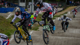 Tre Whyte in action for Great Britain Cycling Team at the UCI BMX Supercross World Cup in Zolder