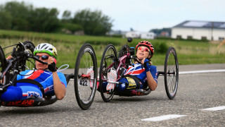 Mel Nicholls medals in her Great Britain Cycling Team debut