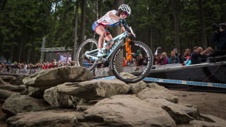 Great Britain Cycling Team's Evie Richards in action at the UCI MTB World Cup.