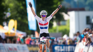 Evie Richards wins the under-23 race at the UCI Mountain Bike World Cup