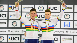 Great Britain Cycling Team's Matt Rotherham and James Ball on the podium at the UCI Para-cycling Track World Championships