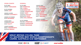 Great Britain Cycling Team for the 2017 UCI Mountain Bike World Championships