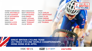 Great Britain Cycling Team squad for the UCI Track Cycling World Championships in Hong Kong in April