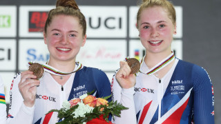 Lauren Bate and Georgia Hilleard with team sprint bronze medals at the UCI Junior Track Cycling World Championships.