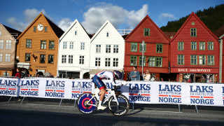 Great Britain Cycling Team's Scott Davies finishes 10th in the under-23 men's time trial at the UCI Road World Championships