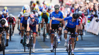 Great Britain Cycling Team's Jake Stewart finishes fifth in the junior men's road race