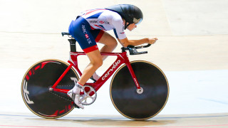 Great Britain Cycling Team's Ellie Dickinson on track.