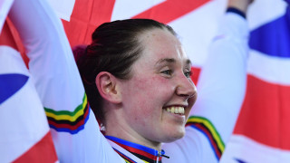 Katie Archibald celebrates winning the Madison world title at the UCI Track Cycling World Championships in Hong Kong