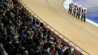 The Great Britain Cycling Team quartet of Steven Burke, Ed Clancy, Owain Doull and Andy Tennant win team pursuit gold at the 2013 UCI Track Cycling World Cup in Manchester