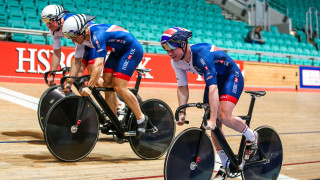 Great Britain Cycling Team's Jack Carlin, Ryan Owens and Joe Truman