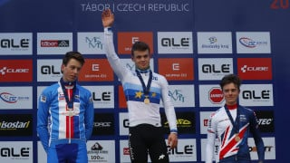 Great Britain Cycling Team's Ben Tulett receives his bronze medal for finishing third in the junior men's race at the UEC European Cyclo-cross Championships