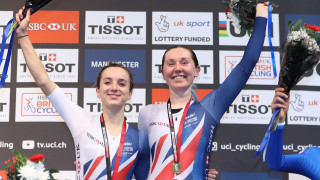 Great Britain Cycling Team's Katie Archibald and Elinor Barker celebrate winning Madison gold at the Tissot UCI Track Cycling World Cup in Manchester