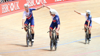 Great Britain Cycling Team's Ollie Wood, Kian Emadi, Ed Clancy and Steven Burke (not pictured) celebrate winning team pursuit gold at the Tissot UCI Track Cycling World Cup in Manchester