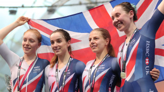 Great Britain Cycling Team's Katie Archibald, Elinor Barker, Emily Nelson and Neah Evans win team pursuit gold at the Tissot UCI Track Cycling World Cup