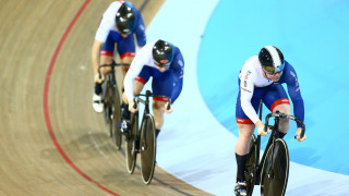 Great Britain Cycling Team's Jack Carlin, Phil Hindes and Callum Skinner win team sprint silver at the Tissot UCI Track Cycling World Cup in Milton, Canada