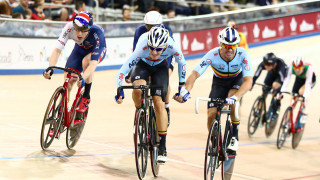 Great Britain Cycling Team's Mark Stewart and Ollie Wood (not pictured) win bronze in the Madison at the Tissot UCI Track Cycling World Cup in Milton, Canada