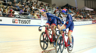Great Britain Cycling Team's Ellie Dickinson and Katie Archibald win Madison gold at the Tissot UCI Track Cycling World Cup in Milton, Canada