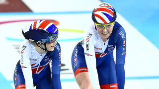 Great Britain Cycling Team's Katie Archibald and Elinor Barker celebrate winning the Madison at the UCI Track Cycling World Cup.