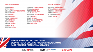Great Britain Cycling Team para-cycling squad for 2018