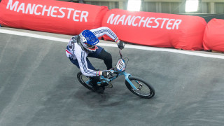 Liam Phillips on his way to a fourth consecutive win in Manchester at the UCI BMX Supercross World Cup