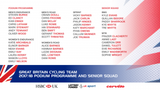 2017/18 Great Britain Cycling Team Podium Programme and Senior Squad