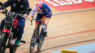 Katy Marchant of the Great Britain Cycling Team train ahead of the UCI World Track Cycling Championships in Hong Kong