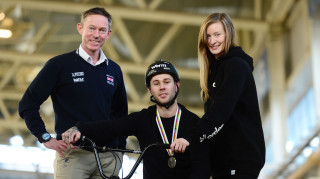 Great Britain Cycling Team's performance director Stephen Park, with BMX Freestyle Park stars Alex Coleborn and Charlotte Worthington