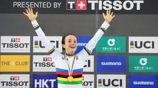 Great Britain Cycling Team's Elinor Barker celebrates winning the points world title in 2017 - an event she will also compete in during the 2018 championships in Apeldoorn.