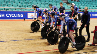 Great Britain Cycling Team's Katie Archibald, Laura Kenny, Emily Nelson and Ellie Dickinson begin a training effort on the new-look Cervélo T5GB