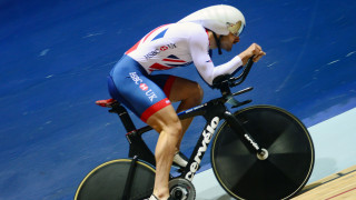 Great Britain Cycling Team's Kian Emadi trains on the new-look Cervélo T5GB ahead of the UCI Track Cycling World Championships