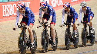 Great Britain Cycling Team's Laura Kenny, Emily Nelson, Elinor Barker and Ellie Dickinson train on the new-look Cervélo T5GB
