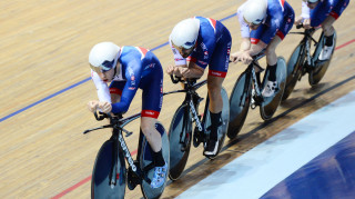 Great Britain Cycling Team's Mark Stewart and Kian Emadi lead the men's team pursuit squad in training on the new-look Cervélo T5GB