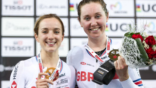 Elinor Barker on the podium with Katie Archibald after their Madison win at the Madison at the Track World Cup in Milton, Canada.