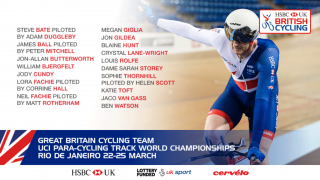 Great Britain Cycling Team for the UCI Para-cycling Track World Championships