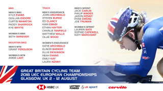 Great Britain Cycling Team BMX, mountain bike and track squads for the 2018 UEC European Championships in Glasgow