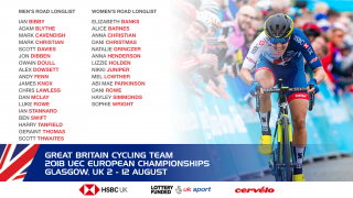 Great Britain Cycling Team road longlists for the 2018 UEC European Championships in Glasgow