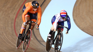 Lauren Bate rides in the women's sprint in Minsk