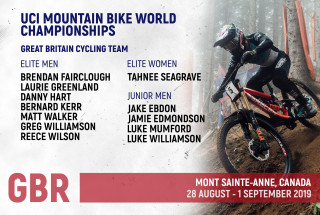 The GBCT MTB downhill squad for the 2019 UCI MTB World Championships.