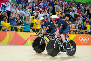 2016 Rio Olympic Games - Track Cycling - Olympic Velodrome, Rio de Janeiro, Brazil - Great Britain's Women's Team Pursuit win Gold in the final. Katie Archibald and Laura Trott.