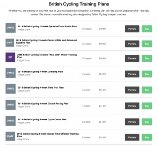 Overview of British Cycling digital training plans on TrainingPeaks
