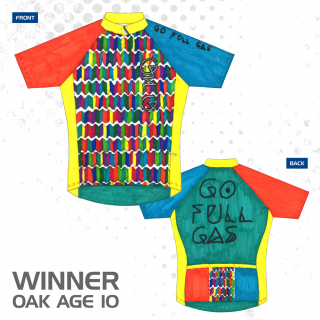 Oak, winner of the British Cycling young members Design Your Dream Jersey competition