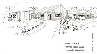 An artist's impression of the new building at the Leeds Urban Bike Park