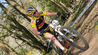Alice Barnes prepares for the opening round of the 2015 UCI Mountain Bike World Cup Cross-Country