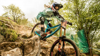 Tahnee Seagrave competes at the UCI Mountain Bike World Cup