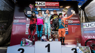 Tahnee Seagrave tops the podium at the UCI Mountain Bike World Cup in Leogang