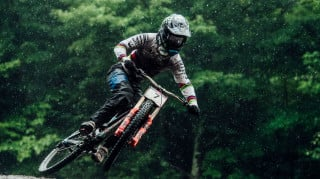 Danny Hart in action at the UCI Mountain Bike World Cup in Mont-Sainte-Anne
